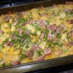 Gnocchi, Ham, Peas with melted cheese on top