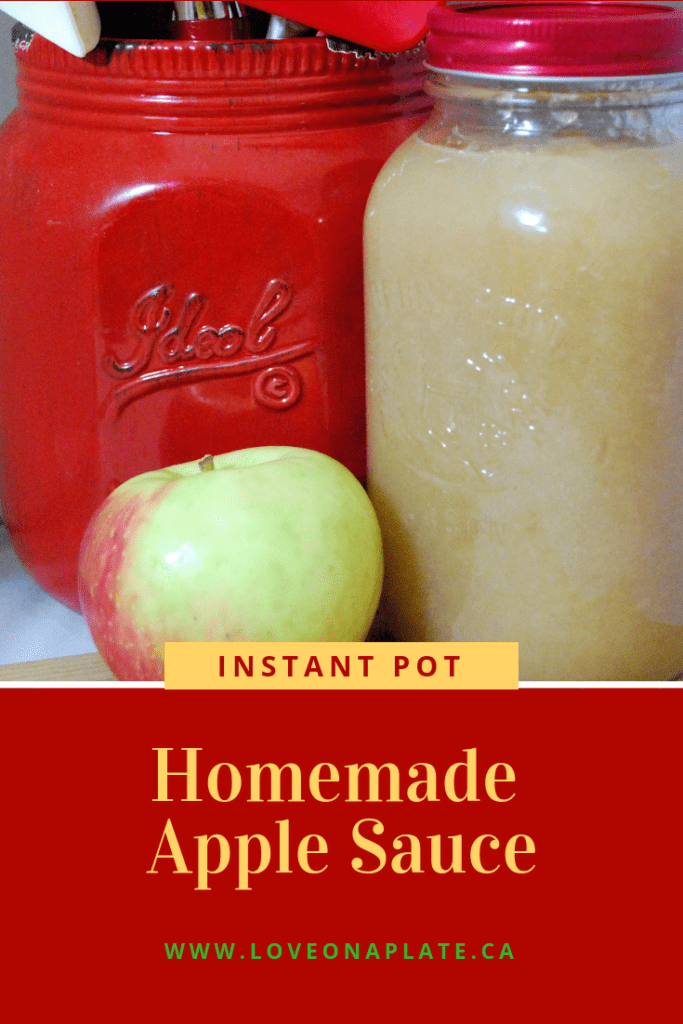 Pinterest Pin showing apple sauce, whole apple and mason jar