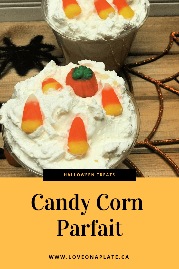 Vanilla Pudding coloured to look like candy corn