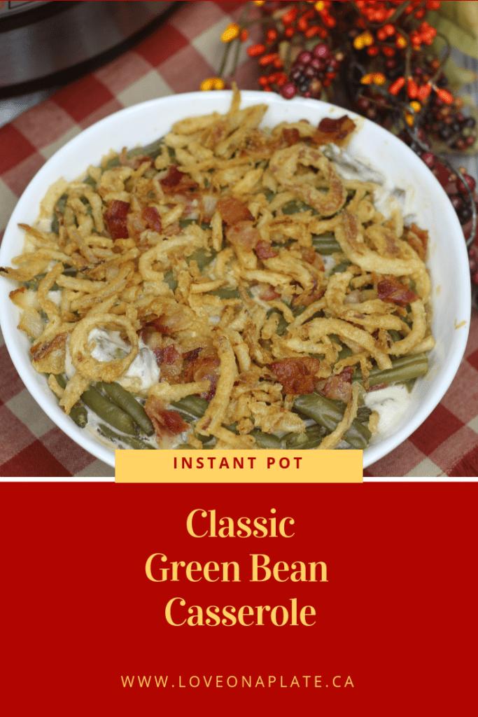 Green Bean Casserole in a white serving bowl