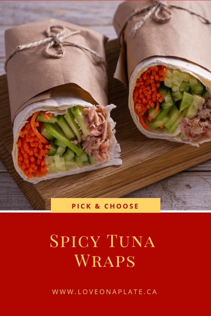 Spicy Tuna Wrap with tuna fish, cucumber, avocado and carrot.