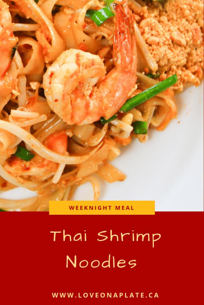 Thai Shrimp Noodles on a white plate