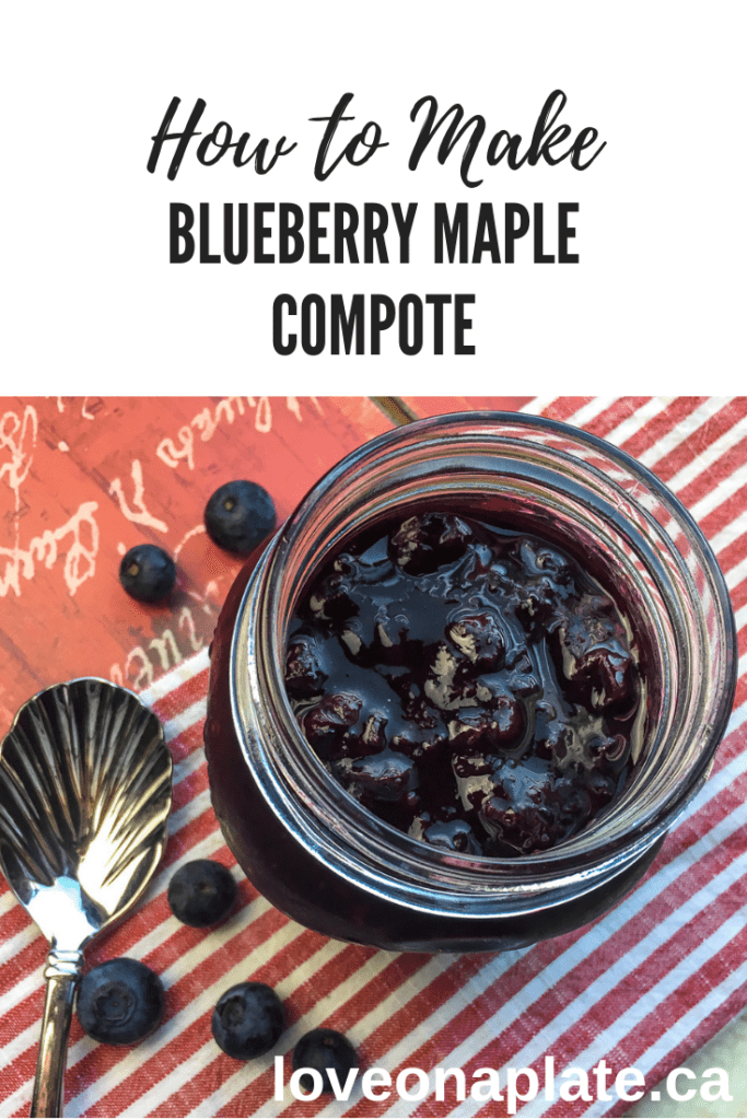 Blueberry Maple Compote in a small open mason jar