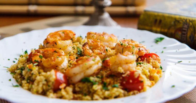 Lemon Shrimp and Turmeric Couscous