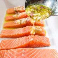 Pour marinade over salmon