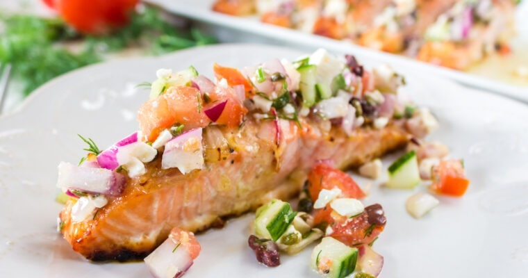Baked Salmon with Greek Salsa