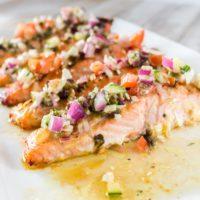 Greek Roasted Salmon Vinaigrette