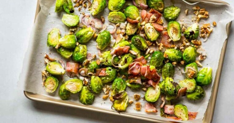 ROASTED BRUSSELS SPROUTS WITH BACON & PECANS