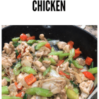 Chicken thighs stir fried with celery, red pepper and onions in a cast iron pan