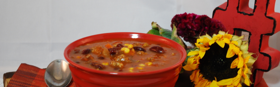 A savoury rich soup filled with vegetables, Italian sausage and kidney beans.