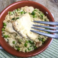 Chicken. bacon, peas and quinoa one skillet dinner