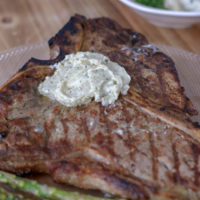Grilled T Bone Steak with Blue Cheese compound butter.
