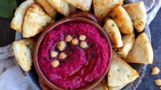 Roasted Beetroot Hummus with Pita Chips • Happy Kitchen