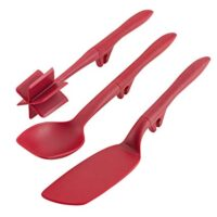 Rachael Ray Tools and Gadgets Lazy Crush & Chop, Flexi Turner, and Scraping Spoon Set, Red