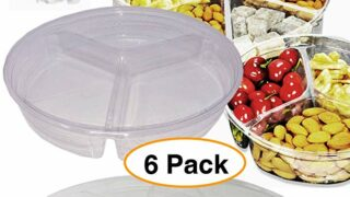 Round Divided Clear Plastic Food Containers storage box w/Lids (6 Pack) Serving Tray For Snacks, dry fruits, candy, nuts & More 60 oz