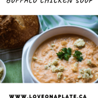 Instant Pot Buffalo Chicken Soup with blue cheese crumbles pin